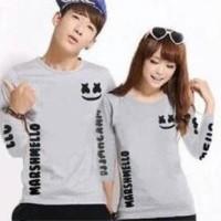 Baju Couple Lengan Panjang / Kaos pasangan marshmello Abu 10872