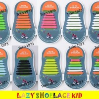Jual 12pcs Lazy Shoelace KID BASIC/Tali Sepatu Silikon ANAK2 - 12PCS/PACK Murah