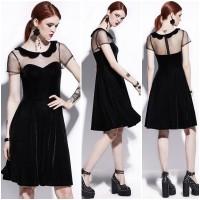 Jual Baju mini midi dress hitam lace bludru kantor pesta korea gothic maxi Murah