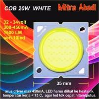 Jual LED COB 20W Putih White 35 32 mm 32 34V 300 450 mA Murah