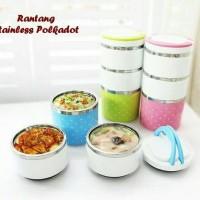 Jual PROMO Rantang Putar Polkadot 3 Susun Lunch Box Tempat Makan Sayur Murah