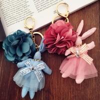 Jual gantungan kunci kelinci mawar rabbit and rose pendant key chain agk012 Murah