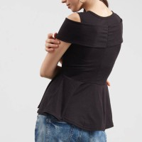 Jual pakaian wanita baju atasan cewek peplum silang cut out hitam clo292 Murah