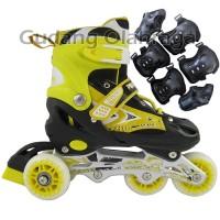 Jual Sepatu Roda BAJAJ + Deker / Pelindung Inline Skate Satu Set Murah