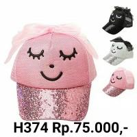 H374 Topi buat anak perempuan pita besar lucu blink blink