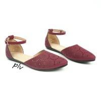 harga |plv| Best Seller Sepatu Flat Shoes Wanita Tali Ps04 - Maroon Tokopedia.com