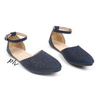 harga |plv| Best Seller Sepatu Flat Shoes Wanita Tali Ps04 - Navy Tokopedia.com
