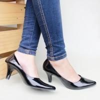 harga |plv| Best Seller Sepatu Kerja Pantofel Wanita Heels Simple Hitam Tokopedia.com