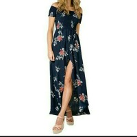 Sexy Off Shoulder Split Dress Women Short Sleeve Floral Print Boho