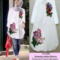 Jual Tunix selina flower RO tunik wanita crepe putih Murah