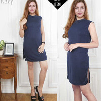 Jual BEST SELLER Dress halter navy FT dress wanita softknit navy Murah
