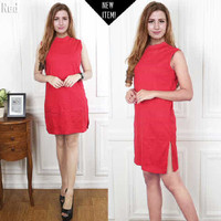 Jual Paling Laris Dress halter red FT dress wanita softknit merah Murah