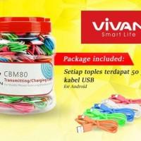 Jual 1 Toples ViVAN Micro USB Cable CBM80 | Candy 5 Colour | Stronge Murah