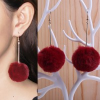 Jual Anting Korea PomPom Long Earrings OKT491 Murah