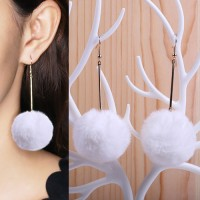 Jual Anting Korea PomPom Long Earrings OKT492 Murah