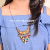 Jual statement necklace kalung fashion wanita aksen donat Berkualitas Murah
