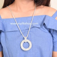 Jual statement necklace kalung fashion wanita ring silver Berkualitas Murah