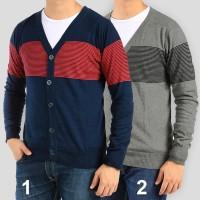 Jual Cardigan Rajut Pria Motif Stripe Sweater banyak pilihan warna Murah
