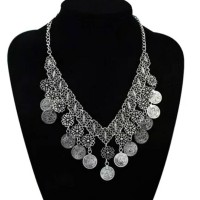 Jual Turkish Tribal Silver Coin Statement Necklace / Kalung Import Murah