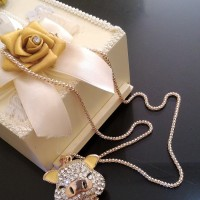 Jual Crystal Pig Charm Necklace / Kalung Fashion Import Murah