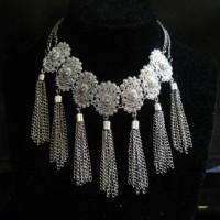 Jual Vintage Silver Flower Necklace / Kalung Import Murah