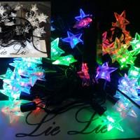 Jual lampu natal twinkle bintang 5 pinus bola kelereng kristal 50 led Murah
