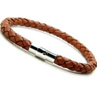 Jual Unisex Leather Steel Magnetic Clasp Bracelet / Gelang Fashion Import Murah