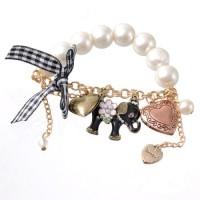 Jual Elephant Heart Pearl Charm Bracelet / Aksesoris Import Murah