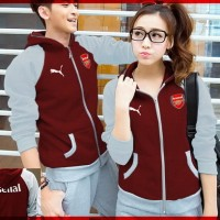 Jual Pakaian Kaos Remaja [Cp Jkt Arsenal CL] jaket couple babyterry maroon Murah