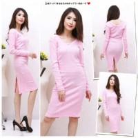 Jual Pakaian Baju Kaos Atasan [Bodycon knit FT] dress wanita softknit baby Murah