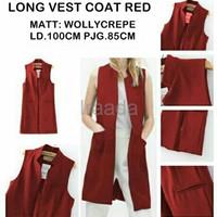 Jual Baju Outer Wanita Long Vest Coat Red Murah