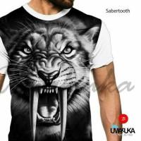 Jual Kaos 3D White Sabretooth Murah