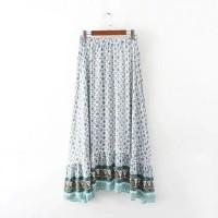 Jual Rok Panjang Long Skirt Motif Etnik Vintage Floral HItam Putih Pink Murah