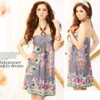 Jual MINI HALTER DRESS IMPORT BOHEMIA STYLE COKLAT (2312) Murah