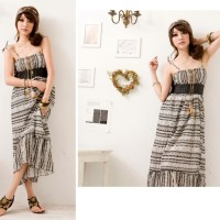 Jual LONG DRESS CORAK ETNIC HITAM IMPORT (823) Murah