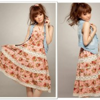 Jual MINI DRESS HALTER DRESS DENIM CORAK FLOWERS (663) Murah
