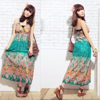Jual LONG DRESS IMPORT CORAK ETNIC HIJAU (693) Murah