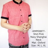 Jual Kemeja Casual Lengan Pendek Shirt Dark Grey Navy Shanghai Neck - 878 Murah