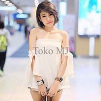 Jual [Blouse Anaz SW] blouse wanita wolly crepe putih Murah