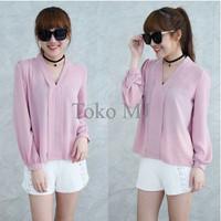 Jual [Blouse Maurell D Pink SW] pakaian wanita atasan wolly crepe pink Murah