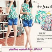 Jual Peplum casual floral top best seller-blouse-dress-cotto Murah Murah
