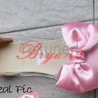 Jual Sepatu Wanita Cewek Flat Mika Bowtie Pink Terbaru Murah