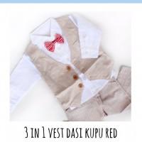 Jual Baju Setelan Anak 3 in 1 Vest Dasi Kupu Red Murah