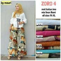 Jual Setelan Atasan Wanita Blouse peplum Baju Celana Kulot motif Zoro#4 Murah