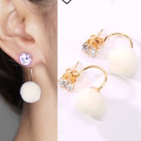 Jual Anting Korea U style gem PomPom earrings Murah