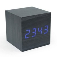 Jual  Jam Meja Digital Model Kayu Kotak  LED Wooden Clock JK808 We T1310 Murah