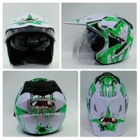 harga Helm Arl Semi Cross Crossover Motocross Half Face Double Visor Putih Tokopedia.com