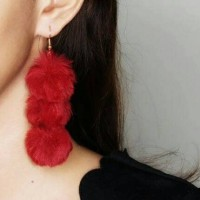 Jual Anting - Triple Pompom Earrings Red 02C703r Murah