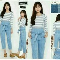 Jual Ribbon Overall Jeans Pants / Celana kodok Jeans Wanita Murah Murah