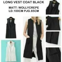 Jual Long Vest Coat Black Murah